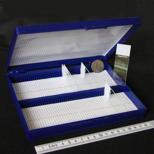Slide storage box, hinged lid - 100 capacity (ABS)