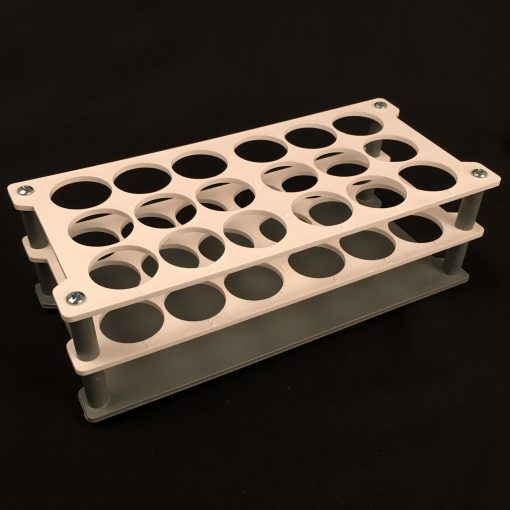 Double platform rack autoclavable - 18 capacity polypropylene (PP) white