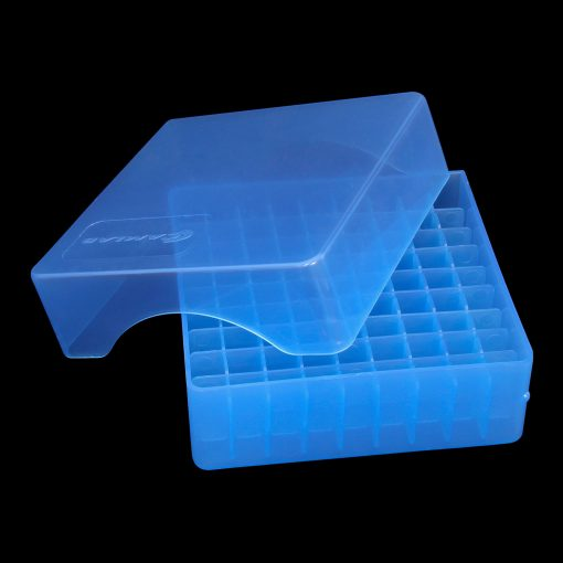 Height adjustable tube/vial storage box, blue polypropylene (PP)