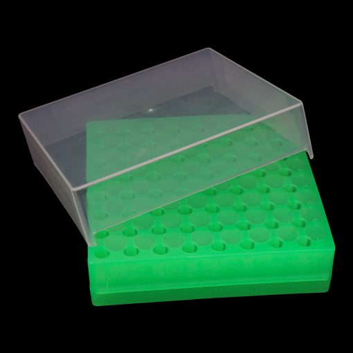 Double sided Well Flipper™ rack - 64 capacity green polypropylene (PP)