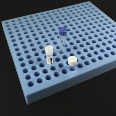 Tube rack - 224 capacity x 16ml holes blue foam
