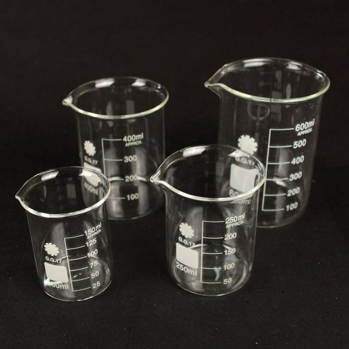 Graduated measuring beakers set of 4: 150/250/400/600ml borosilicate glass