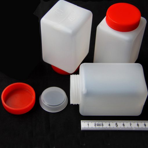 250ml square bottle with insert plug & red screw cap polyethylene