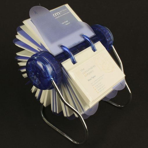Rotary card filing system with 150 business card sleeves