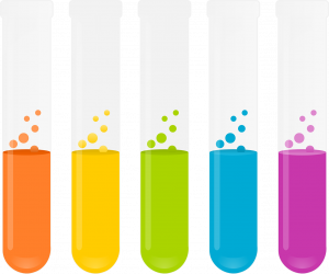 test tubes with coloured contents